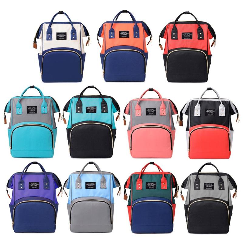 Hit Color Mommy Travel Backpacks Big Nylon Maternity Nappy Top-handle Bags