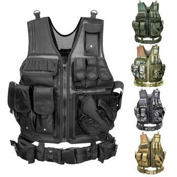 Tactical Vest Military Combat Armor Vests Mens Tactical Hunting Vest Army Adjustable Armor Outdoor CS Training Vest Airsoft 1