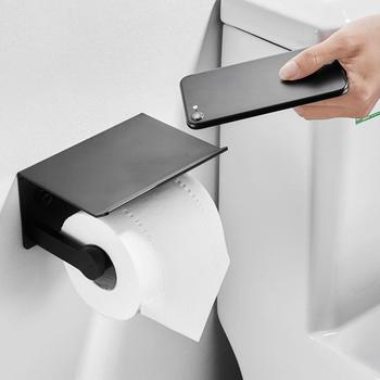Wall Mounted Black Toilet Paper Holder Tissue Paper Holder Roll Holder With Phone Storage Shelf Bathroom Accessories stainless steel toilet paper tray roll traceless tissue paper holder storage box wall mounted bathroom wc shelf accessories