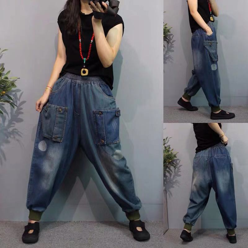 Large Size Denim Pants Elastic Waist Cowboy Harem Pants Do Old Style Casual Women Joggers Bloomers Wide Leg Daddy Jeans