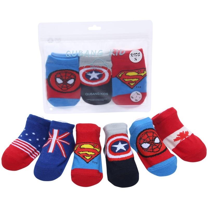 3 Pairs Baby Cotton Superman Pop Hero Non-slip Thin Non-slip Thin  Newborn Boy Socks Sports Cute Cartoon Spiderman Floor Socks