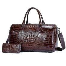 Leather crocodile travel bag men