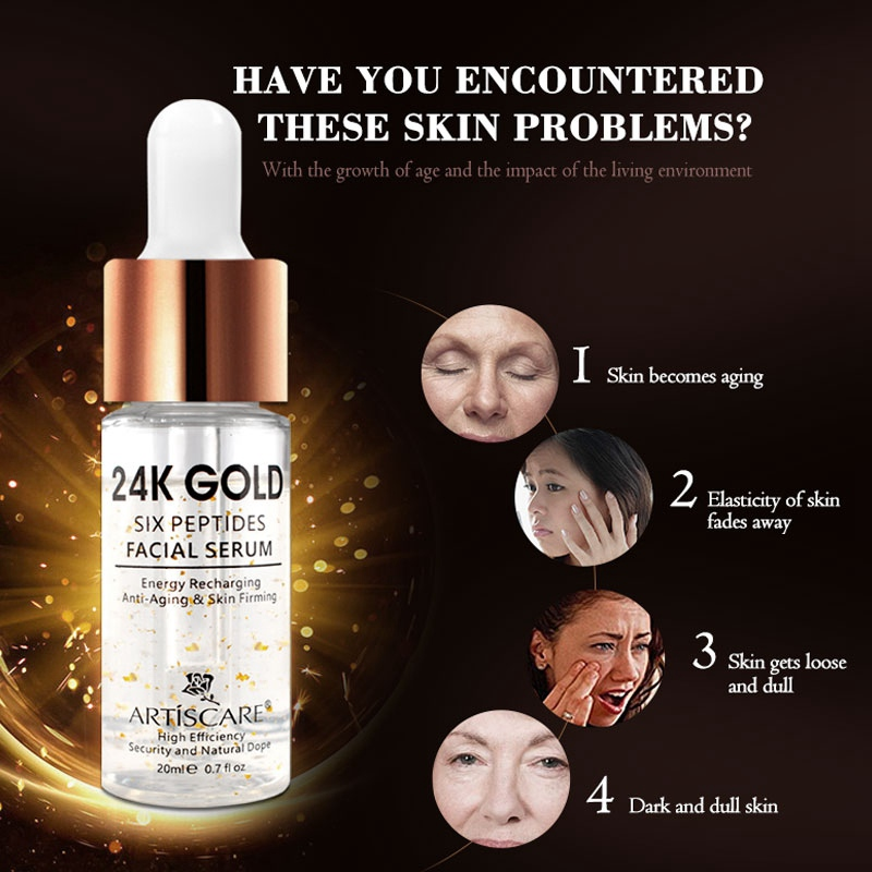 Six Peptides Whitening Moisturizing Hyaluronic Acid Serum For Face Anti Wrinkles Facial Skin Care 20ml New 24k Gold Serum