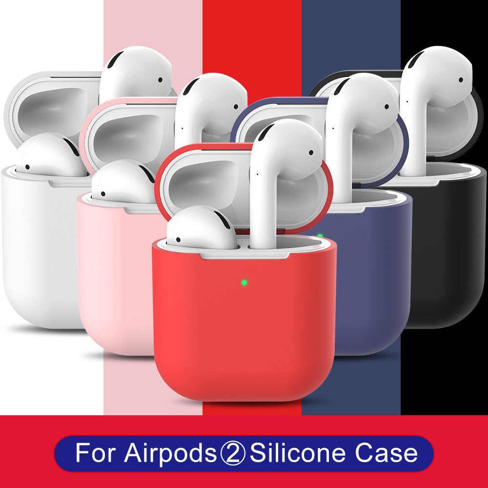AirPods 2 غطاء من السيليكون بلوتوث سماعات لاسلكية سماعات ل أبل AirPods2 حالة وقائية ل الهواء القرون 2 Airpod2 حالة