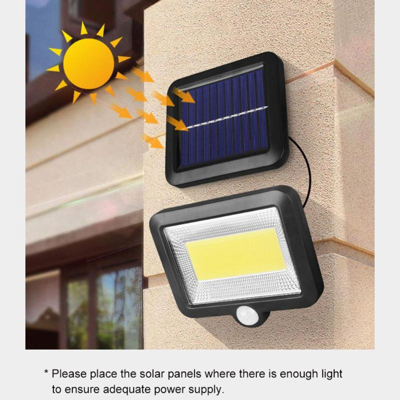 COB 100 LED Solar Wall Light Outdoors Solar Garden Light Waterproof PIR Motion Sensor Wall Lamp Spotlights Emergency Street Lamp