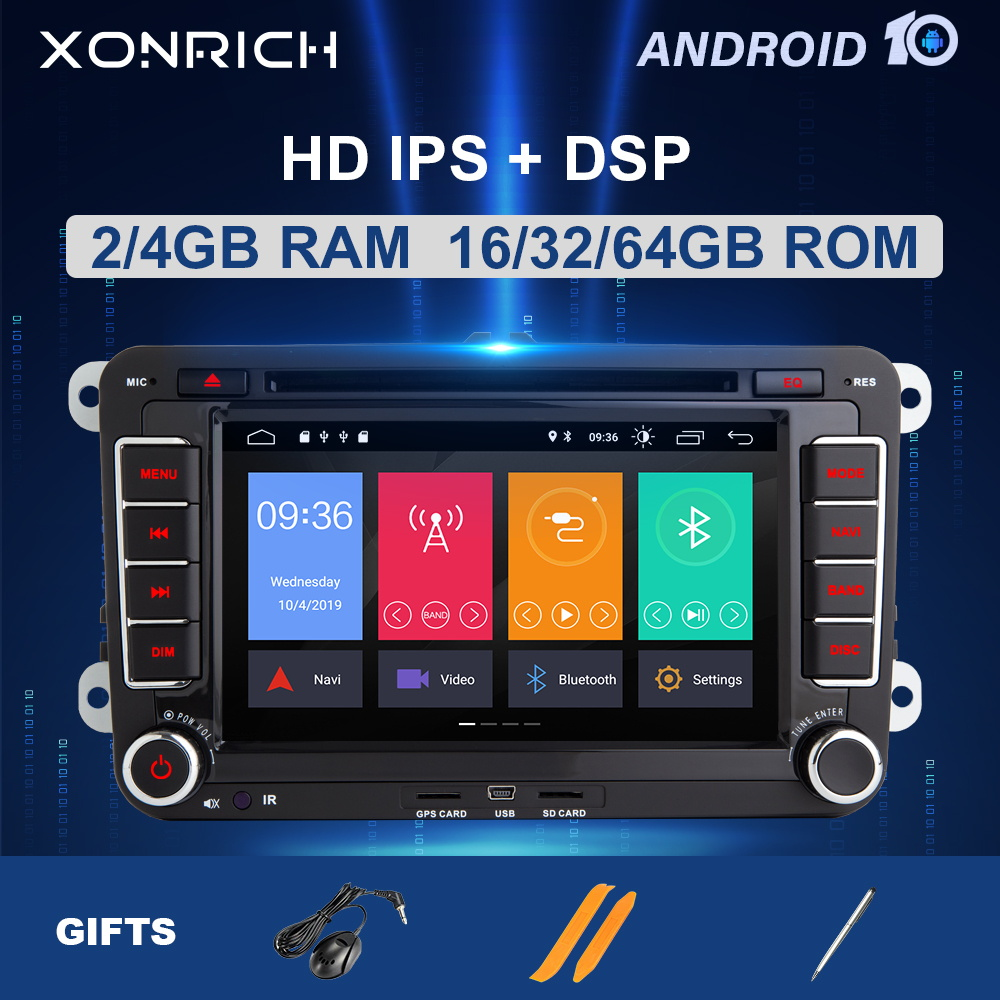 2 din Android 10 Car Multimedia Car Radio GPS For Amarok Volkswagen VW <font><b>Passat</b></font> <font><b>b6</b></font> Polo Skoda Octavia 2 Tiguan golf 5 6 seat leon image