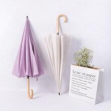 UV Protection Umbrella Long Straight Handle  Women Men 16K Glass Fiber Japanese Style Parasol Waterproof Fashion Colorful