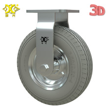 Heavy Duty 8-inch Galvanized Pu Foam Fixed Wheel Solid Gray Rubber Caster Inflatable Free Push hot 4 inch caster wheel manufacturer 100mm medium duty nylon caster brake