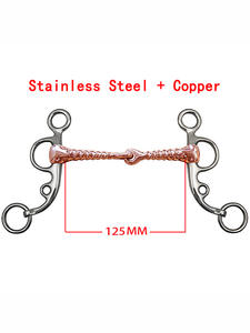 Stainless-Steel Equestrian Horse-Chew Mouth-Training Double-Jointed-Bit Copper-Link Thread-Shape