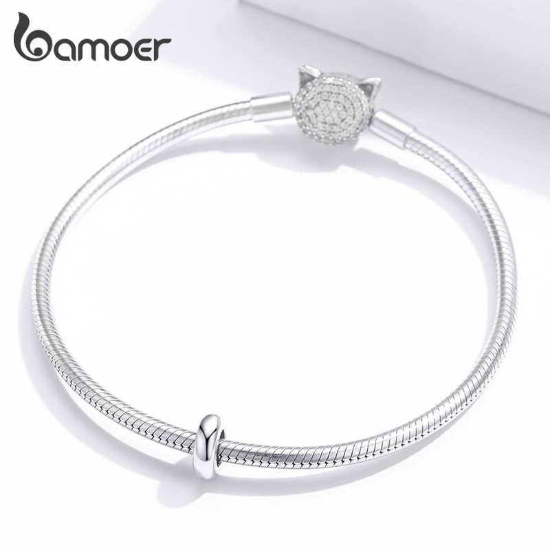 Bamoer genuíno 925 prata esterlina simples minimalista silicone rolha charme para pulseira original jóias acessórios scc1450