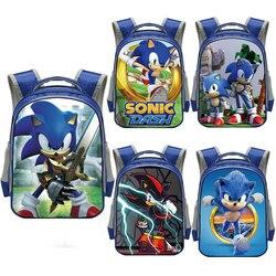 13 Cal Cartoon Sonic szkolny plecak dla 3-6 lat chłopcy dzieci szkolne torby dzieci plecak przedszkolny torba na książki