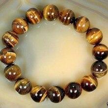 1Pc Fashion Natural Stone Beads Buddha Bracelet Brown Tiger Eyes Beads Braclet For Men Women