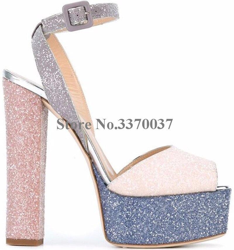 Nouvelle mode femmes bout ouvert or haute plate-forme talon épais pompes miroir en cuir verni bride à la cheville talons hauts chaussures habillées - 6