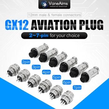 цена на GX12 2/3/4/5/6/7 Pin Male + Female 12mm Circular Aviation Socket Plug Wire Panel Connector Small industrial socket adapter