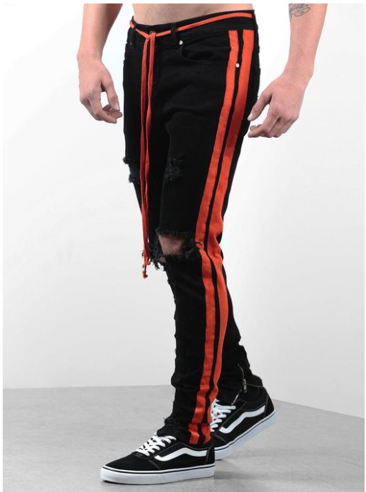 2019 New Streetwear Hiphop Personality Men Jeans Side Zipper Ripped Fashion Male Destroyed Skinny 4 Colors Striped Denim Pants