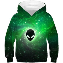 3D Sweatshirts Hooded-Clothes Pocket Funny Printed Kids Children Boys/girl with Green-Space