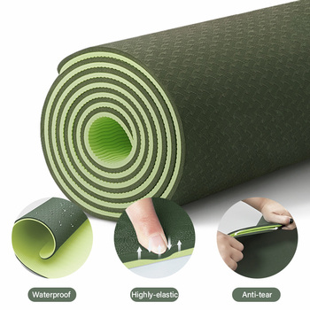 TPE Yoga Double Layer Non-Slip Mat Yoga Exercise Pad with Position Line For Fitness Gymnastics and Pilates 3
