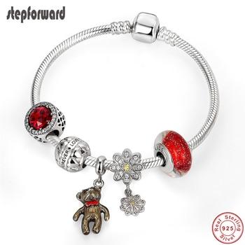 STEP FORWARD 100% 925 Sterling Silver Bangle Original Bracelets For Women Cute Bear Bracelet Silver Jewelry Gift