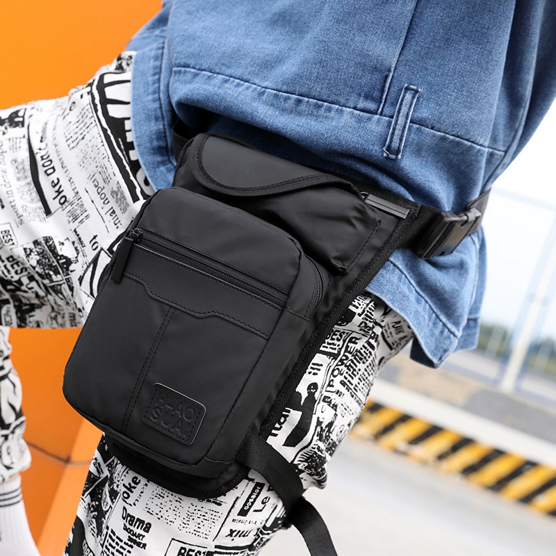 Leg Bag Nylon Men Drop Fanny Pack Motorcycle Riding Casual Shoulder Cross Body Thigh Male Hip Belt Waist Bags Thigh