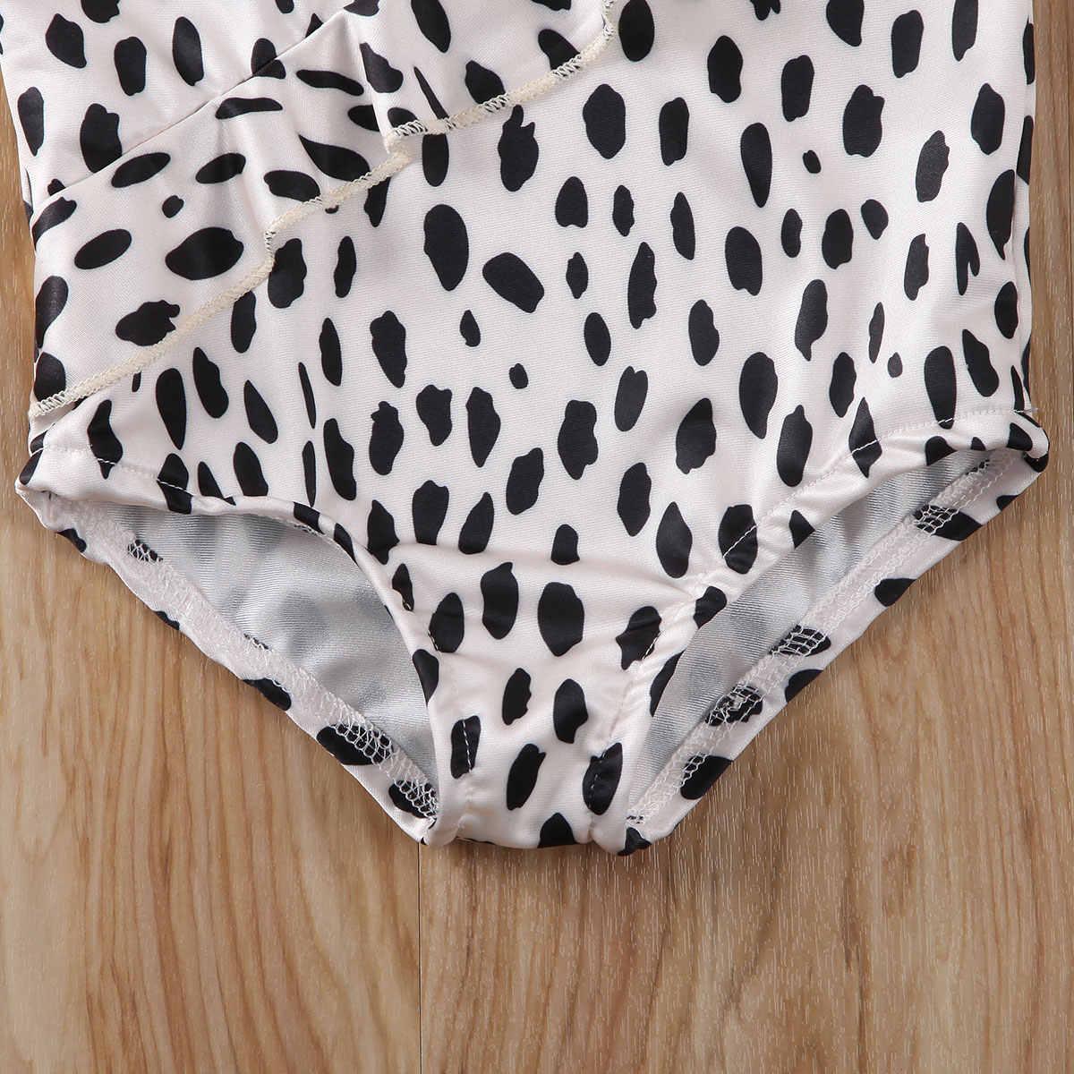 2020 strój kąpielowy na lato dla dzieci dla dzieci dziewczyna strój kąpielowy z nadrukiem w cętki leoparda potargane jednoczęściowy plaża kostium kąpielowy
