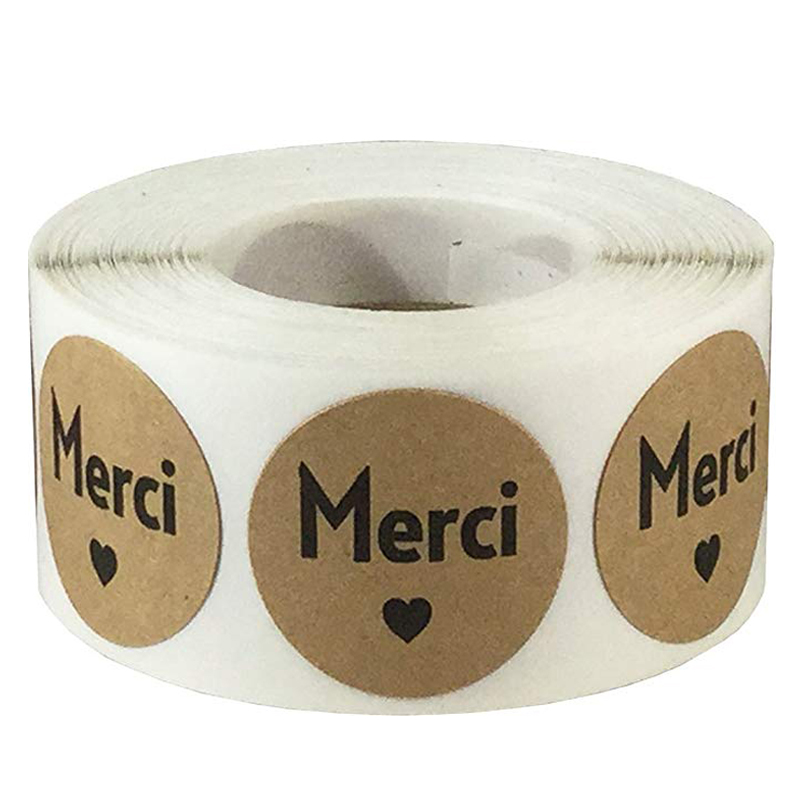 500 Pcs/roll Round Merci French Thank You Seal Labels Stickers Self-Adhesive Wedding Party Cards Gifts Box Package Label Sealing