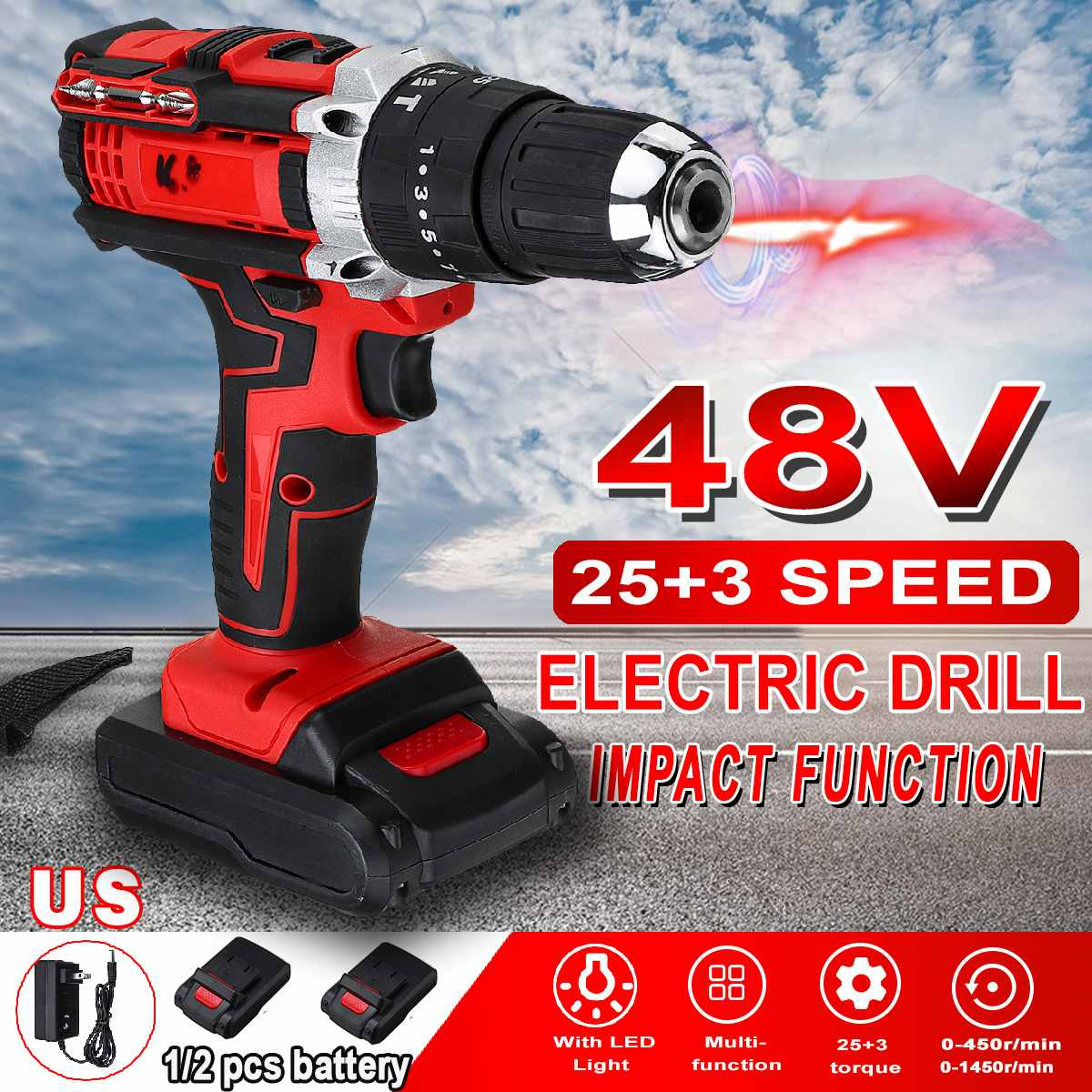 3 In 1 25 Torque Cordless Impact Electric Drill Screwdriver 48V 2 Speed Mini Power Driver with 2 Rechargeable Battery