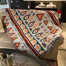 Manta geométrica Vintage, manta multifunción a rayas para sofá, para el polvo de borla Cobertor, mantas de aire acondicionado para cama
