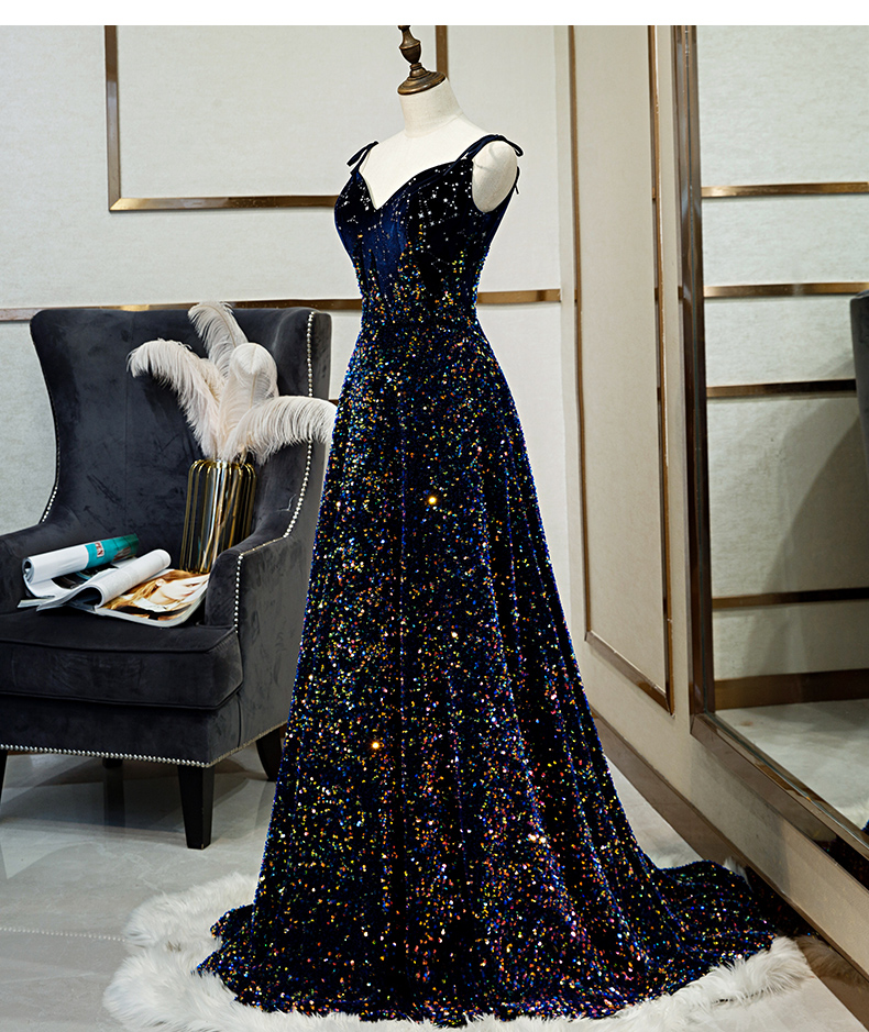 Élégant Spaghetti bretelles robe de soirée avec étoile ornement dentelle paillettes longueur de plancher robe de bal sur mesure