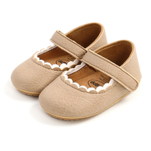Baby Girls Shoes Newborn Soft Pu Leather Lace Princess Shoes Non Slip Toddlers First Walker Rubber Sole Casual Prewalker