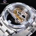 Forsining Prata Quadrado Masculino Transparente Relógios Mecânicos Automáticos de Engrenagem de Ouro Esqueleto de Aço Inoxidável Banda Homem Reloj Hombre
