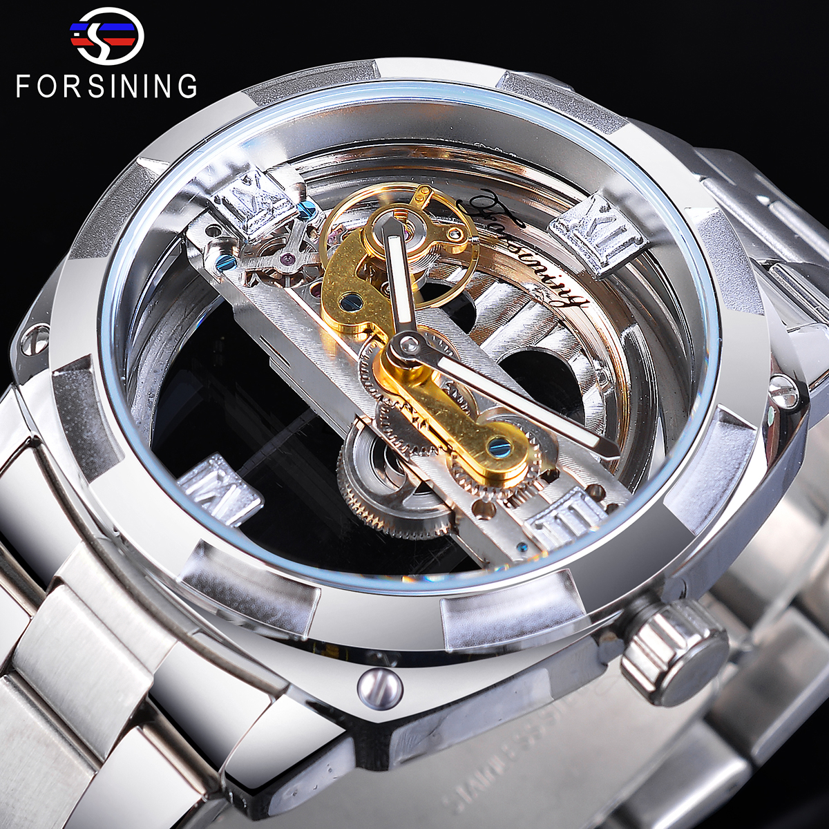 Forsining Silver Square Male Transparent Mechanical Watches Automatic Golden Gear Skeleton Stainless Steel Band Man Reloj Hombre
