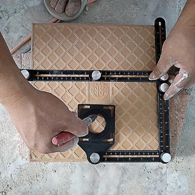 2019 Construction Multi Angle Measuring Ruler Aluminum Folding Positioning Ruler Professional DIY Wood Tile Flooring Tool|Construction Tool Parts| |  - title=