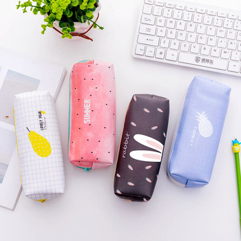 Student supplies fresh stationery box creative cute pencil bag square zipper bag pencil case cute girl school supplies bag zipper pencil case twill canvas large pen box pencil bag for student school stationery supplies