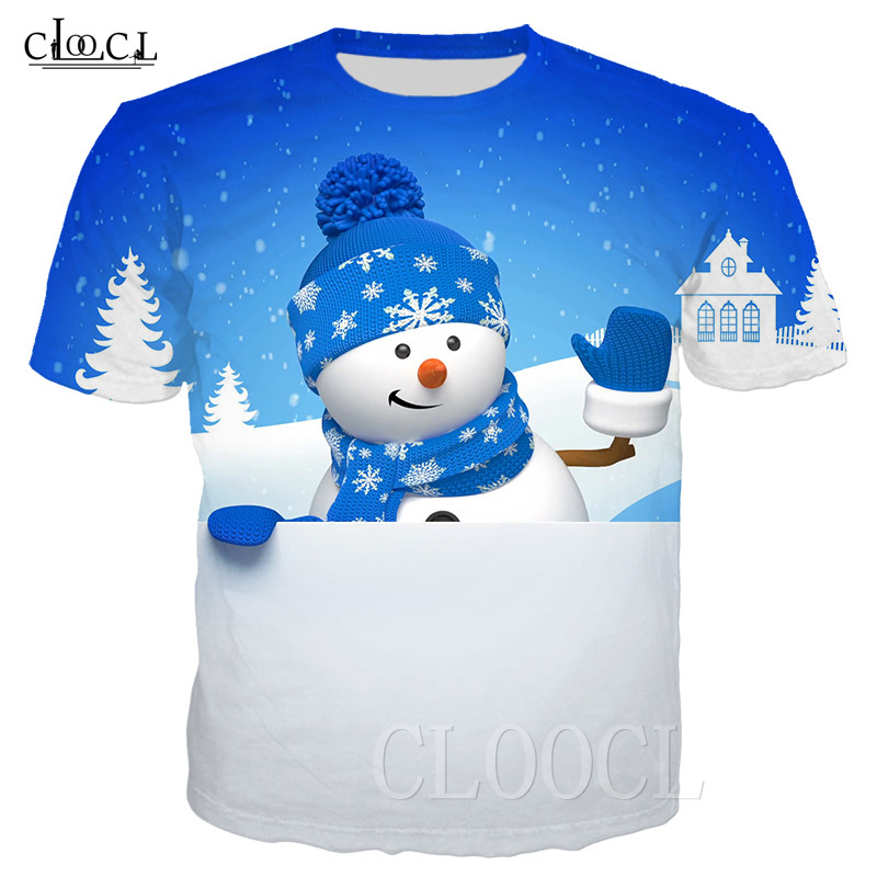 Xmas Harajuku T Shirt Hip Hop Tee Shirt 3D Print Peeking Snowman Streetwear Men Women Oversized T-shirt Pullover Christmas Gift 1