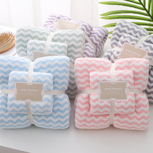 Towel Turban Bathroom-Set Terry Hair-Wipes Drying Fleece Water-Ripple Thick Coral And