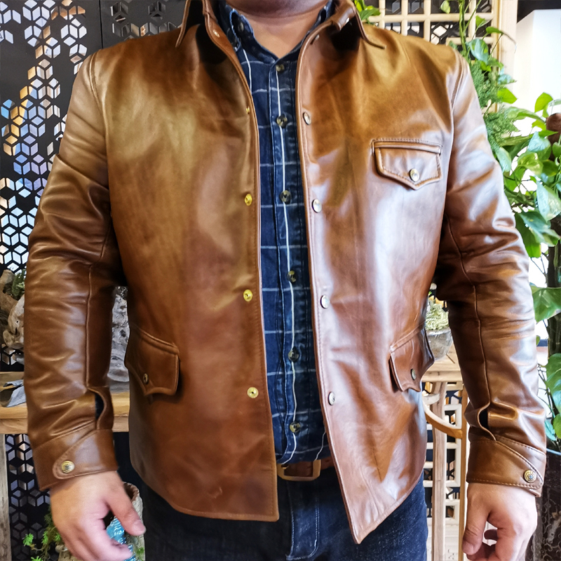 Free Shipping.Brand Italy Oil Wax Cowhide Riding Car Coat,Luxury Mens 1.5mm Genuine Leather Jacket,vintage Style Jacket Quality