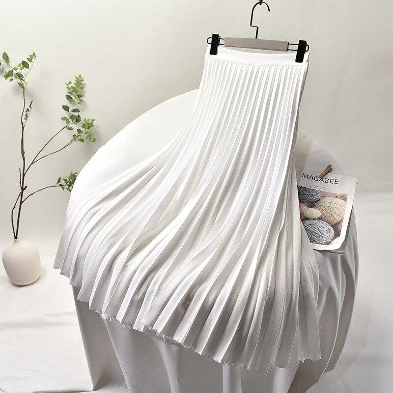 2020 Women High Waist Summer A-line Pleated Skirt Saia Stretch Waist Top Brand White Long Skirt Faldas Jupe Femme Maxi Skirts