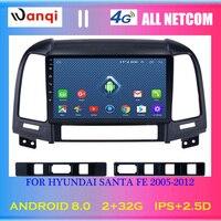 4G Lte All Netcom Android 8.0 9 inch Car Multimedia GPS Radio Stereo For Hyundai Santa Fe 2005 2012 Car Video Navigation