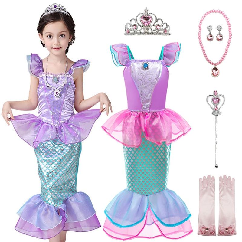 Детское летнее платье Русалочки для девочек, маскарадный костюм принцессы, нарядная одежда на день рождения, Хэллоуин
