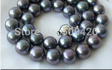 free shipping >stunning big 12mm perfect round black freshwater pearl necklace silver(China)