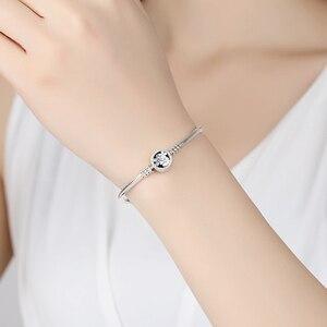 Image 4 - Original 100% 925 Sterling Silver Bracelet Bead Charm Heart Snowflake Rose Snake Chain Basic Bracelets Pan Women DIY Jewelry
