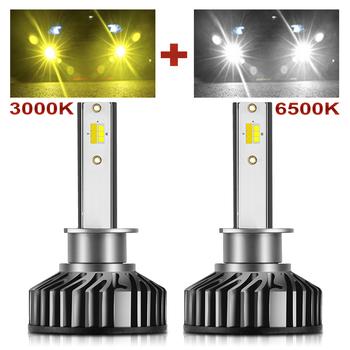 BraveWay H1 H11 H8 H9 H7 żarówki LED do reflektorów H7 LED Canbus HB3 HB4 światła LED do samochodu 12V 24V 3000K + 6500K podwójny kolor światła przeciwmgielne tanie i dobre opinie Universal 12 v 6500 k Car Autobus Automobile Auto Motor Vehicle Autocar 80W Pair 12000LM Pair Chips Headlight bulbs
