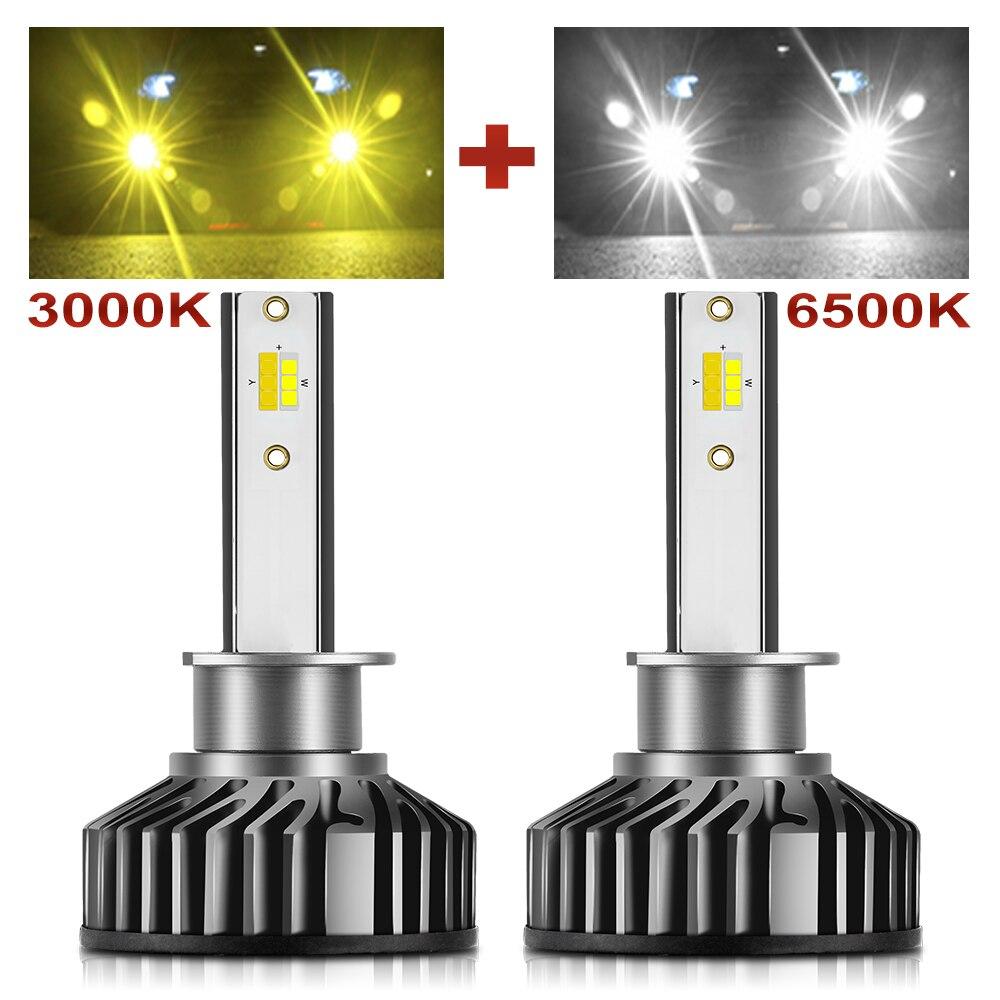 BraveWay H1 H11 H8 H9 H7 LED Headlight Bulbs H7 LED Canbus HB3 HB4 LED Lights For Car 12V 24V 3000K+6500K Dual Color Fog Lamps