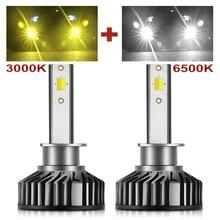 BraveWay – feux antibrouillard LED pour voiture, Canbus LED H1 H11 H8 H9 H7 ampoules de phares LED H7 HB3 HB4 12V 24V 3000K + 6500K, double couleur