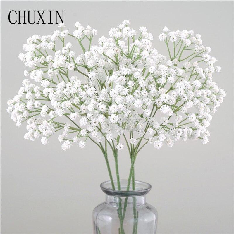135 Mini Heads 62cm DIY Artificial Baby Breathing Flower Gypsophila Fake Silicone Plants Wedding Decor Home Flower Arrangement(China)