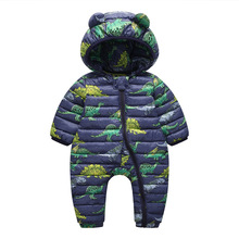 Autumn winter Newborn boys baby Climbing Clothes Conjoined Down Jackets
