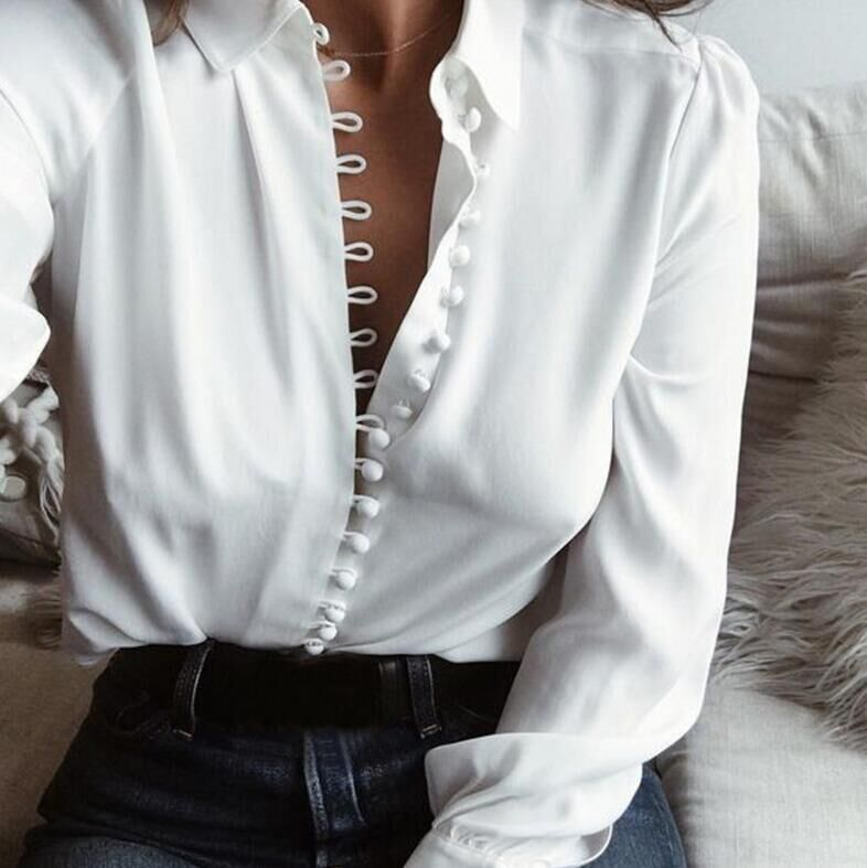 Long Sleeve White Womens Blouses And Tops 2019 <font><b>Autumn</b></font> Buttons <font><b>Sexy</b></font> Casual Ladies Office Tops Chiffon Shirt Plus Size <font><b>5xl</b></font> Clothes image