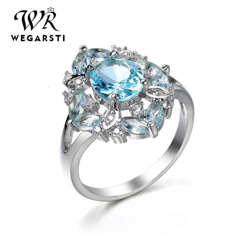 WEGARASTI Silver 925 Jewelry Ring Ruby Gemstone Rings For Women Genuine 925 Sterling Silver Female Jewelry Ring