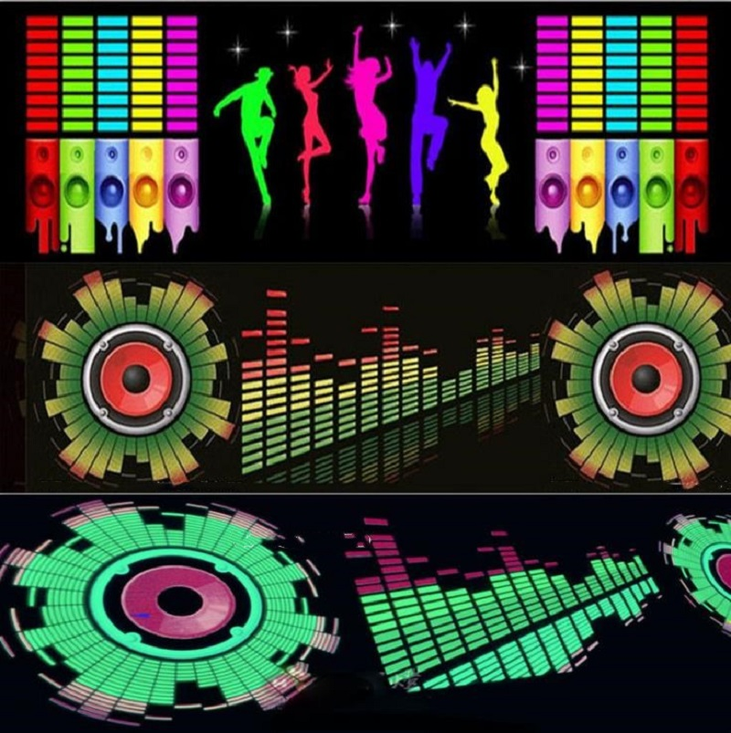 For Car Rear Glass LED Sound Activated Equalizer Car Neon EL Light Music Rhythm Jump Flash Lamp Sticker Styling With Control Box