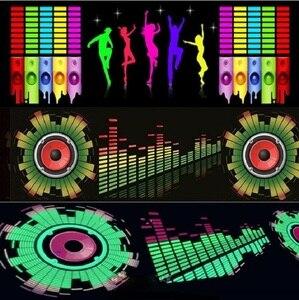 Image 1 - Voor Auto Achter Glas Led Equalizer Auto Neon El Licht Muziek Ritme Jump Flash Lamp Sticker Styling Met control Box